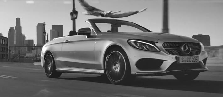 mercedes benz nouveau new c class cabriolet luxe car automobile 2016 pub publicit campagne. Black Bedroom Furniture Sets. Home Design Ideas